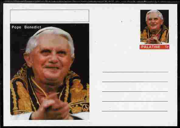 Palatine (Fantasy) Personalities - Pope Benedict postal stationery card unused and fine