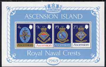 Ascension 1969 Royal Naval Crests - 1st series perf m/sheet unmounted mint, SG MS 125