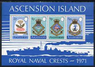 Ascension 1971 Royal Naval Crests - 3rd series perf m/sheet unmounted mint, SG MS 153, stamps on ships, stamps on shakespeare, stamps on phoenix