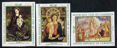 Cameroun 1981 Christmas Paintings imperf set of 3 from limited printing unmounted mint, as SG 919-21