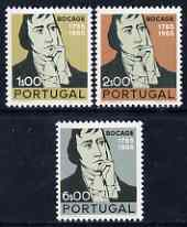 Portugal 1966 Birth Bicentenary of Manuel du Bocage (poet) perf set of 3 unmounted mint, SG 1309-11
