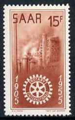 Saar 1955 Rotary International 15f unmounted mint, SG 355