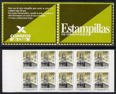 Booklet - Chile 1993 900p booklet containing pane of 10 x 90p Quehui Church (SG 1513)