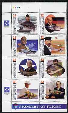 Micronesia 1995 Pioneers of Flight (7th series) perf set of 8 in se-tenant block unmounted mint, SG 453a