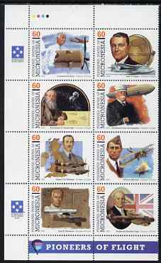 Micronesia 1995 Pioneers of Flight (6th series) perf set of 8 in se-tenant block unmounted mint, SG 441a