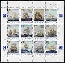 Micronesia 1993 American Clipper Ships perf set of 12 in se-tenant sheetlet unmounted mint, SG 301a