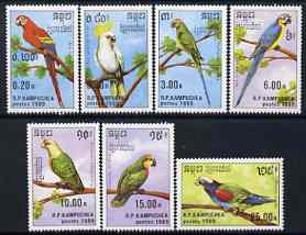 Kampuchea 1989 Parrots perf set of 7 unmounted mint, SG 969-75