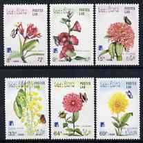 Laos 1988 Finlandia '88 Stamp Exhibition - Flowers perf set of 6 unmounted mint, SG 1078-83, stamps on flowers, stamps on stamp exhibitions