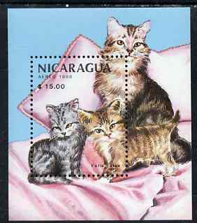 Nicaragua 1988 Mammals & their Young (Cats) perf m/sheet unmounted mint, SG MS 2962