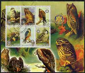 Benin 2002 Birds of Prey #1 perf m/sheet containing 6 values. each with Rotary Logo cto used