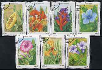 Afghanistan 1985 Argentina 85 Stamp Exhibition (Flowers) perf set of 7, cto used SG 1036-42