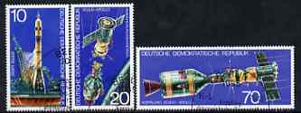 Germany - East 1975 Apollo-Soyuz Space Link perf set of 3 fine cto used, SG E1798-1800