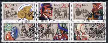 Germany - East 1982 Sorbian Folk Customs set of 6 in se-tenant block cto used, SG E2424a
