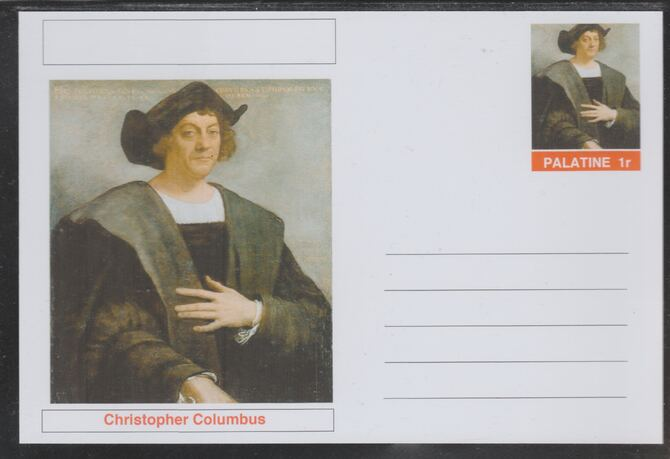 Palatine (Fantasy) Personalities - Christopher Columbus (explorer) postal stationery card unused and fine