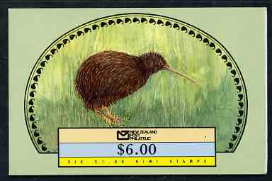 Booklet - New Zealand 1988 $6.00 booklet containing pane of 6 x $1 circular Kiwi stamps, pristine, SB 50