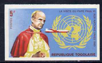 Togo 1966 Pope Paul & Boeing 707 5c from Visit to UN set, imperf from limited printing unmounted mint, as SG 445