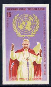 Togo 1966 Pope Paul at  Microphonec 15f from Visit to UN set, imperf from limited printing unmounted mint, as SG 446