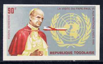 Togo 1966 Pope Paul & Boeing 707 90c from Visit to UN set, imperf from limited printing unmounted mint, as SG 450