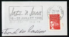 Postmark - France rectangular piece bearing French adhesive with illustrated cancel for Jazz Festival
