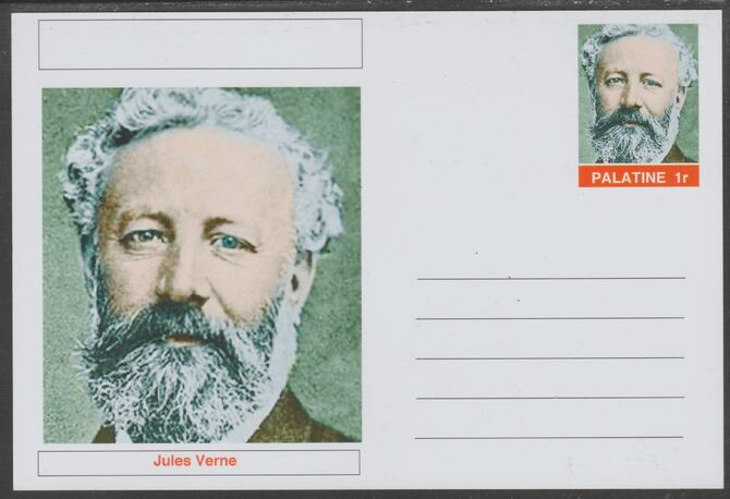 Palatine (Fantasy) Personalities - Jules Verne postal stationery card unused and fine