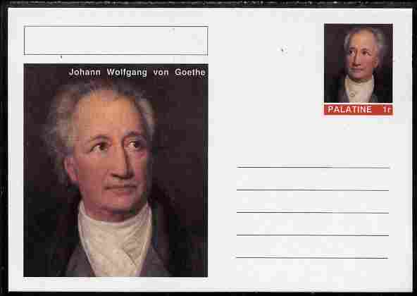 Palatine (Fantasy) Personalities - Johann Wolfgang von Goethe postal stationery card unused and fine