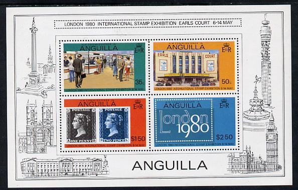 Anguilla 1980 'London 1980' m/sheet containing 4 vals P14.5 (SG MS 388B) unmounted mint