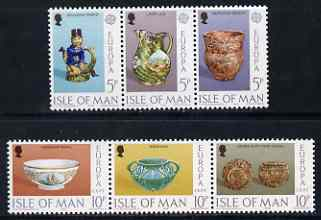 Isle of Man 1976 Europa - Ceramic Art perf set of 6 (2 strips of 3) unmounted mint, SG 84-89