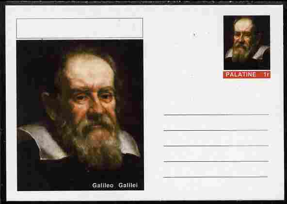 Palatine (Fantasy) Personalities - Galileo Galilei postal stationery card unused and fine