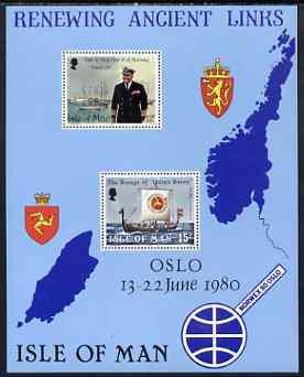 Isle of Man 1980 Visit of King Olav of Norway m/sheet (Norwex 1980) unmounted mint, SG MS 180