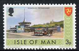 Isle of Man 1973-75 Douglas Promenade (Horse-drawn Tram) 3p (from def set) unmounted mint, SG 17, stamps on horses, stamps on transport, stamps on trams, stamps on