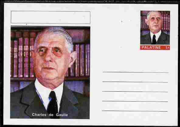 Palatine (Fantasy) Personalities - Charles de Gaulle postal stationery card unused and fine