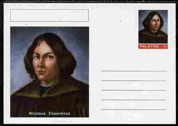 Palatine (Fantasy) Personalities - Nicolaus Copernicus postal stationery card unused and fine