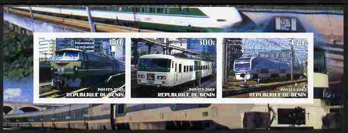 Benin 2003 Modern Electric Trains imperf sheetlet containing 3 values unmounted mint