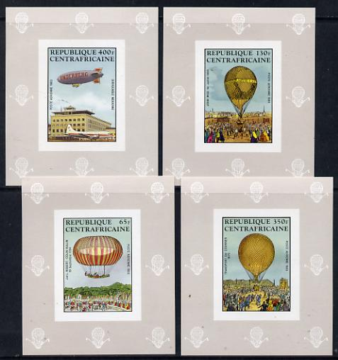 Central African Republic 1983 Manned Flight set of 4 deluxe imperf miniature sheets unmounted mint