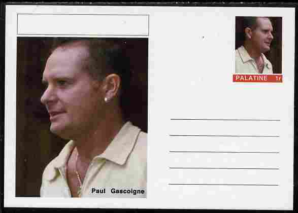 Palatine (Fantasy) Personalities - Paul Gascoigne (football) postal stationery card unused and fine