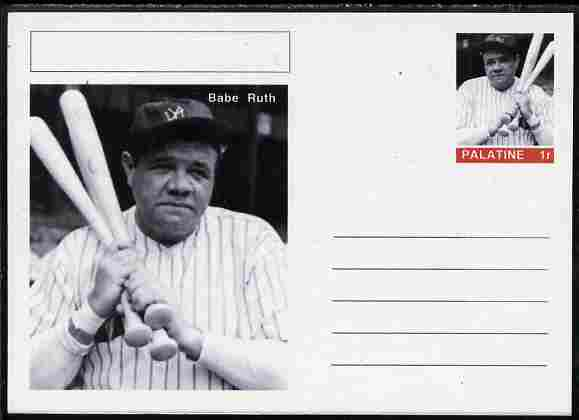 Palatine (Fantasy) Personalities - Babe Ruth (baseball) postal stationery card unused and fine