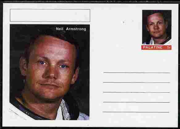 Palatine (Fantasy) Personalities - Neil Armstrong postal stationery card unused and fine