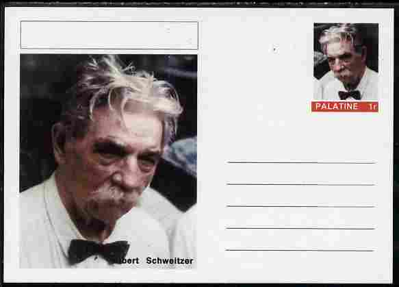 Palatine (Fantasy) Personalities - Albert Schweitzer postal stationery card unused and fine
