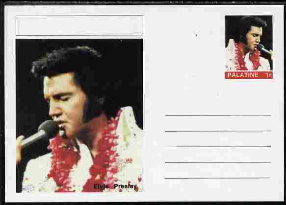 Palatine (Fantasy) Personalities - Elvis Presley postal stationery card unused and fine, stamps on personalities, stamps on elvis, stamps on music, stamps on films, stamps on cinema, stamps on movies, stamps on pops, stamps on rock