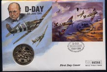Guernsey 1994 50th Anniversary of D-Day perf m/sheet on illustrated first day cover with special D-Day cancel with commemorative \A32 coin