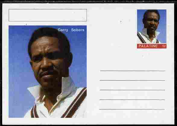 Palatine (Fantasy) Personalities - Garry Sobers (cricket) postal stationery card unused and fine