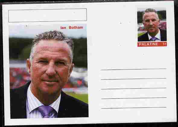 Palatine (Fantasy) Personalities - Ian Botham (cricket) postal stationery card unused and fine