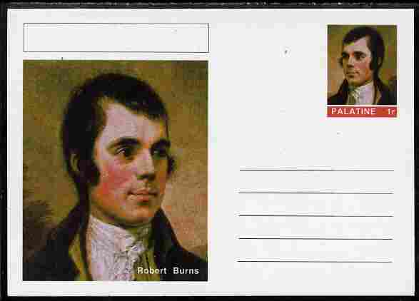 Palatine (Fantasy) Personalities - Robert Burns postal stationery card unused and fine, stamps on personalities, stamps on literature, stamps on poetry, stamps on poems, stamps on burns, stamps on scotland, stamps on scotts