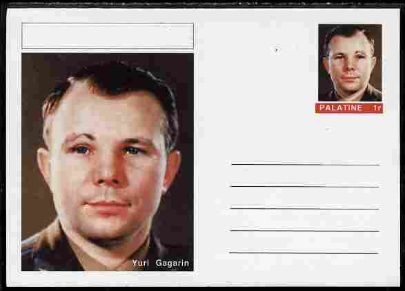 Palatine (Fantasy) Personalities - Yuri Gagarin postal stationery card unused and fine
