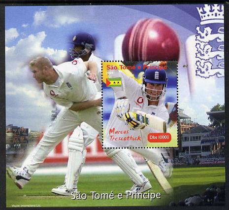 St Thomas & Prince Islands 2004 Cricket - Marcus Trescothick perf souvenir sheet unmounted mint. Note this item is privately produced and is offered purely on its thematic appeal