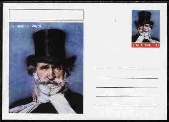 Palatine (Fantasy) Personalities - Giuseppe Verdi (Composer) postal stationery card unused and fine