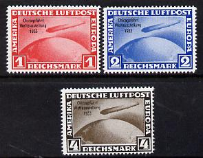 Germany 1933 Zeppelin Chicago Flight set of 3  reprints stamped 'Privater Nachdruck' on reverse, unmounted mint as SG 510-11 originals cat \A33,750