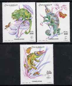 Somalia 2001 Chameleons perf set of 3 unmounted mint, Michel 882-84