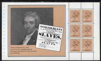 Booklet Pane - Great Britain 1984 William Wilberforce booklet pane (ex Christian Heritage Prestige booklet) showing Slavery notice and pane of 6 x 13p stamps