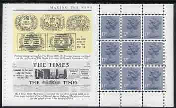 Booklet Pane - Great Britain 1985 Times Front Page booklet pane (ex Story of the Times Prestige booklet) showing Headlines, Newspaper stamps and pane of 9 x 17p stamps